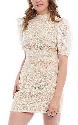 A. Calin by Flying Tomato Women's White Lace Dress