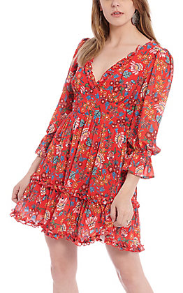 A. Calin by Flying Tomato Women's Red Floral Print Dress