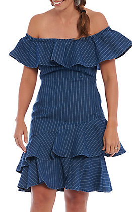 A. Calin by Flying Tomato Women's Denim Ruffle Off The Shoulder Dress
