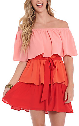 A. Calin by Flying Tomato Women's Pink, Orange &  Red Color Block Off the Shoulder Dress
