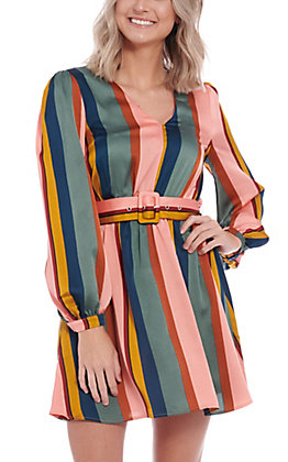 A. Calin by Flying Tomato Women's Multi Striped Satin Fashion Dress