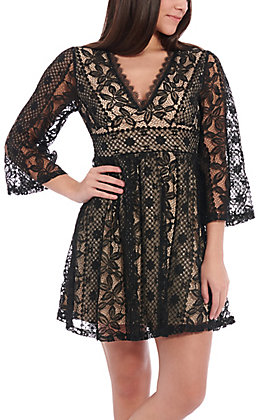 A. Calin by Flying Tomato Women's Black Lace Floral Dress
