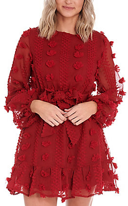A.Calin by Flying Tomato Women's Red Pom Fashion Dress