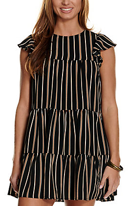 A. Calin Women's Black with Brown and White Stripes Tiered Dress