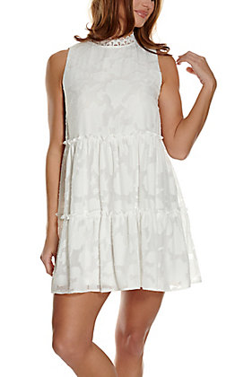 A. Calin Women's White Floral Print Tiered Sleeveless Dress