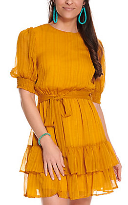 A. Calin Women's Mustard with Tonal Stripes Tie Waist 3/4 Sleeve Dress