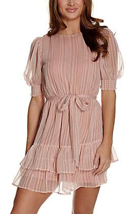 A. Calin Women's Mauve Striped 3/4 Sleeve Dress
