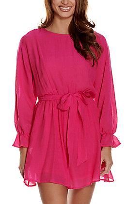 A. Calin Women's Hot Pink Long Dolman Sleeves Dress