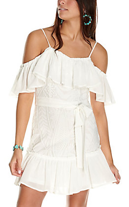 A. Calin Women's White with Lace and Ruffle Trim Sleeveless Dress