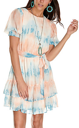 A. Calin Women's Blue and Coral Watercolor 3/4 Sleeve Dress