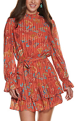 A. Calin Women's Rust with Paisley Floral Print High Neck Long Sleeve Dress