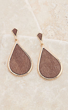 Ashlyn Rose Against the Grain Teardrop Dark Wood and Gold Earrings