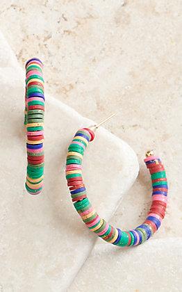 Ashlyn Rose Multi-Colored Beaded Hoop Earrings