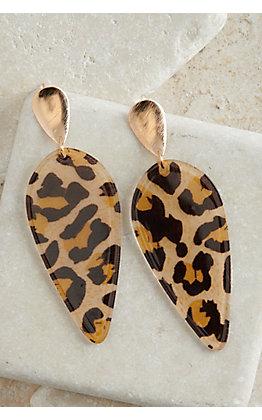 Ashlyn Rose Gold with Leopard Print Acrylic Teardrop Earrings