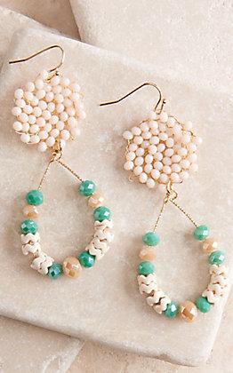 Ashlyn Rose Teardrop Cream and Turquoise Crystal Teardrop Earrings