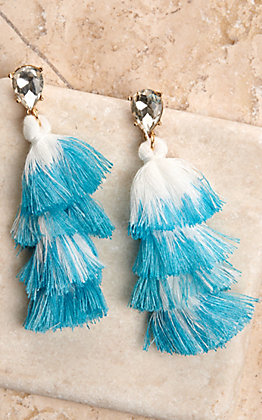 Ashlyn Rose Turquoise and White Tiered Tassel Earrings