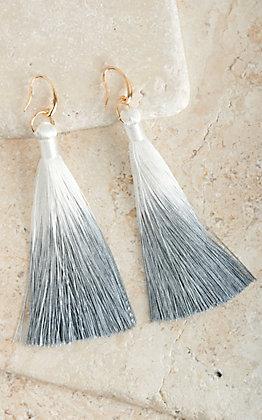 Ashlyn Rose Grey and White Tassel Earrings
