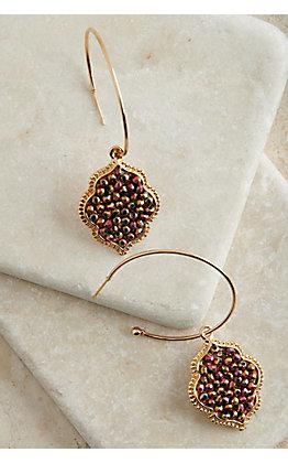 Ashlyn Rose Gold Open Hoop with Multi Colored Beads Pendant Earrings