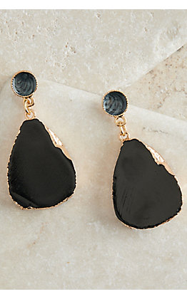 Ashlyn Rose Gold with Black Stone Earrings