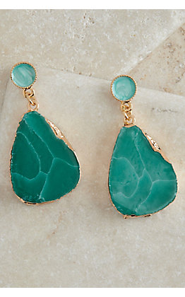 Ashlyn Rose Gold with Turquoise Stone Earrings