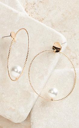 Ashlyn Rose Gold Hoop with Pearl Earrings