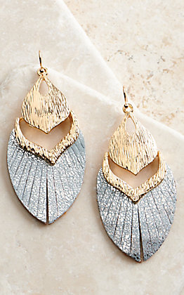 Ashlyn Rose Gold with Metallic Blue Leather Feather Design Earrings