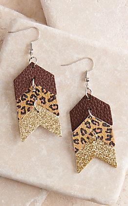 Ashlyn Rose Leopard, Brown and Gold Leather Arrows Earrings