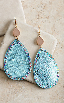 Ashlyn Rose Blue Shiny Fabric Teardrop with Crystals and Druzy Stone Earrings