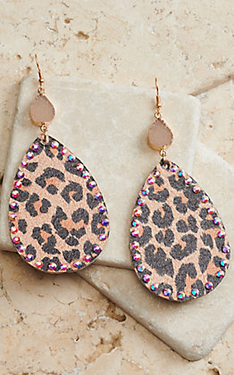 Ashlyn Rose Leopard Print Fabric Teardrop with Crystals and Druzy Stone Earrings