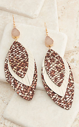 Ashlyn Rose Brown Snakeskin and Cream Leather Feathers Triple Layered Dangle Earrings