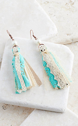 Ashlyn Rose Walk This Way Champagne and Turquoise Tassel Earrings