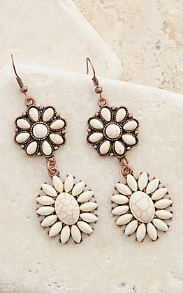 Ashlyn Rose Copper with White Stone Double Drop Dangle Earrings