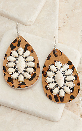 Ashlyn Rose Leopard Print Leather Teardrop with White Stone Blossom Dangle Earrings