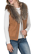 Montana Co. Women's Cognac Brown Faux Suede with Embroidery, Studs and Fur Vest
