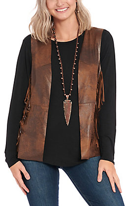 Montana Co. Women's Whiskey Faux Leather Aztec Embroidered Fringe Vest