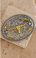 AndWest Antiqued Silver & Gold Longhorn Oval Buckle