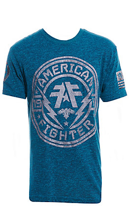 American Fighter Men's Blue & Grey Graphic T-Shirt