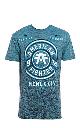 American Fighter Men's Teal Allport Seal Design Short Sleeve Tee