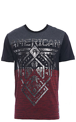 American Fighter Men's Black and Red with Silver Logo Short Sleeve Tee