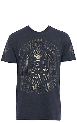 American Fighter Men's Black and Gold Logo Short Sleeve Tee