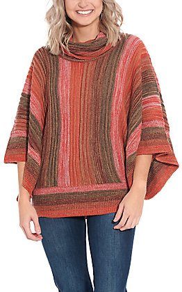 Anne French Women's Sunset Ombre Turtleneck Sweater