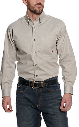 Forge Workwear Men's Tan Diamond Pattern Long Sleeve Work Shirt
