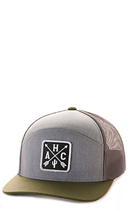 Armadillo Hat Co. Six Shooter Grey & Green Logo Patch Cap