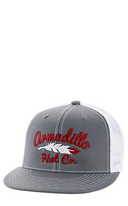 Armadillo Hat Co. Men's Heather Grey and Maroon Mesh Snapback Logo Cap