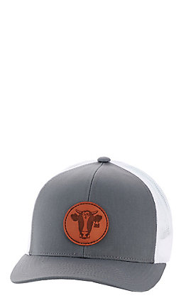 Armadillo Hat Co. Men's Grey With Heifer Leather Patch Mesh Snapback Cap