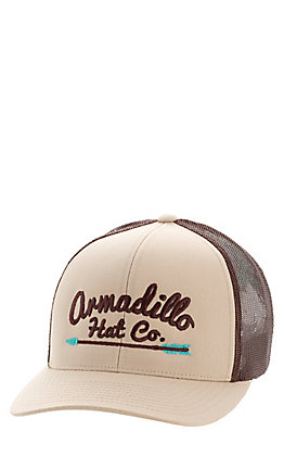 Armadillo Hat Co. Men's Khaki and Brown Arrow Snapback Cap