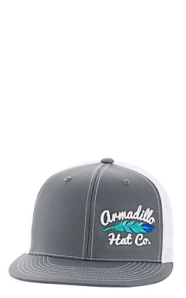 Armadillo Hat Co. Men's Grey and White Offset Feather Cap