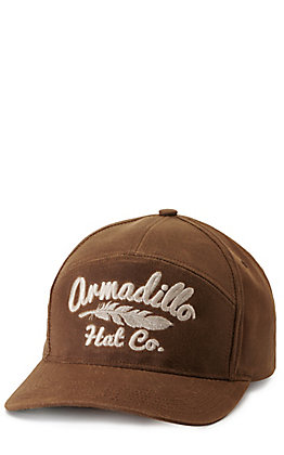 Armadillo Hat Co. Pioneer Brown Waxed with Embroidered Logo Cap