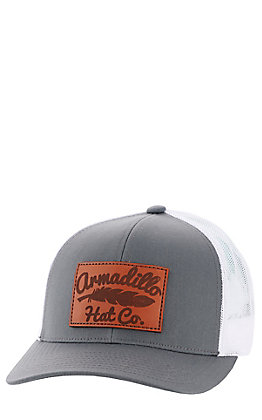 Armadillo Hat Co. Men's Grey and White Leather Elevation Patch