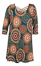 James C Women's Teal and Mustard Medallion Print Criss Cross Dress - Plus Size